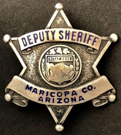Maricopa Co. Deputy Sheriff badge made of sterling silver.