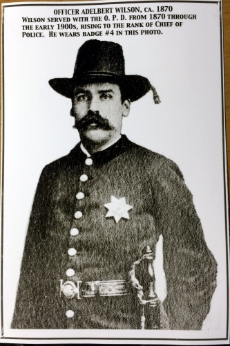 Officer Adelbert Wilson, circa 1870.  Wilson served with the O.P.D. from 1870 through the early 1900�s, rising to the rank of Chief of Police.  He wears badge #4 in this photo.