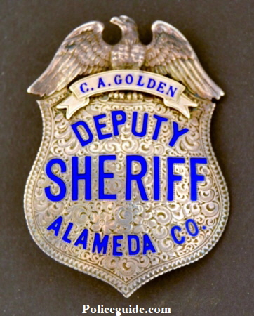 Alameda Co. Deputy Sheriff, sterling silver, hand engraved.