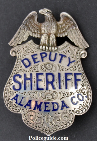 Alameda Co. Deputy Sheriff, sterling silver, hand engraved, Block and Roman lettering.