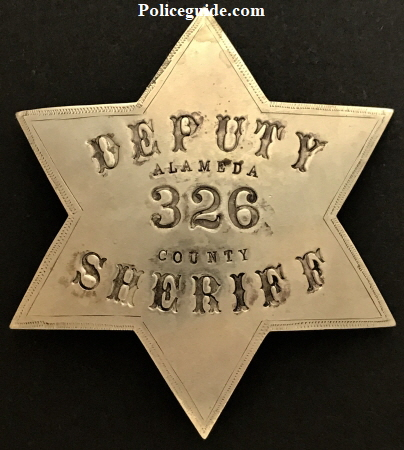 Alameda County Deputy Constable Sheriff #32, hallmarked Oakland Rubber Stamp Co.  Circa 1889.