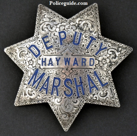Rare sterling and hand engraved Hayward Deputy Marshal