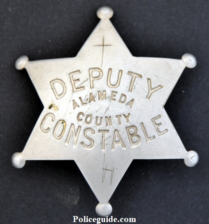 Alameda County 6pt ball tip star,  Deputy Constable hallmarked California