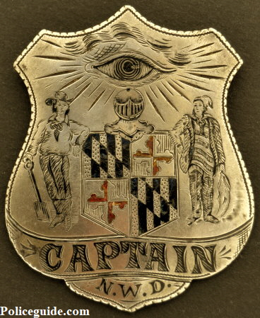 Baltimore Police Captain badge for the Northwestern District.  Jeweler made with hard fired enamel.  According to noted Baltimore historian Bruce Green, the only one known to exist.