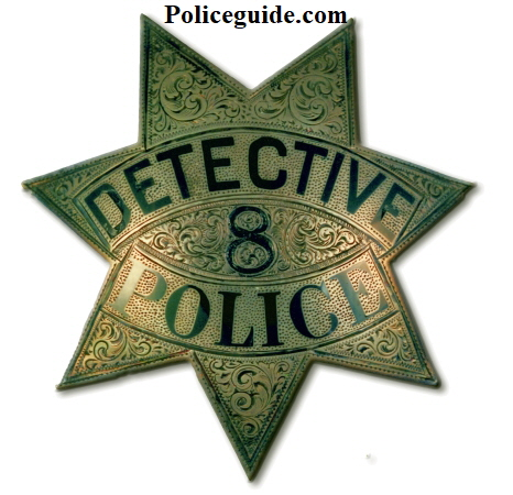 This early Chico police Detective badge #8 is made of sterling silver and is beautifully hand engraved.  It was part of the Charles Hunter collection.