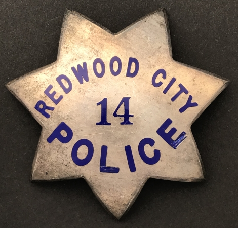 Redwood City Police badge #14, made of sterling silver.