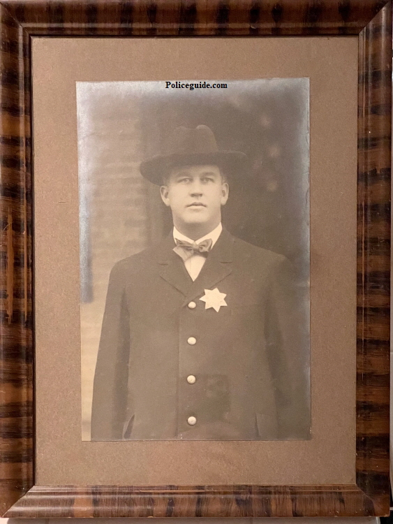 George L. Palmer was a Chico Policeman appointed in 1911.  He was born on the 8th of January 1878 in Browns Valley Yuba County, CA and died in Butte County, CA on September 7, 1913 of Typhoid.  He married Martha I. Messinger on February 1, 1903 in Chico.