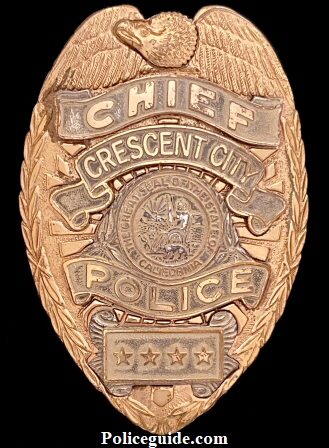 Crescent City Chief of Police badge worn by Daniel Webster Nations