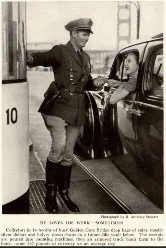 Armed Golden Gate Bridge Officer working one of the toll booths for this publicity photo.  More often he worked patrol on a motorcycle.