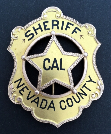 "14k gold Sheriff of Nevada Co. Cal. Presented to George R. Carter who was elected Sheriff in 1927.  This badge is pictured in Witherell's book, ""California's Best"" on page 27 and in Jim Casey's book, ""Badges of America's Finest"""