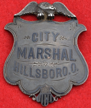 City Marshal Hillsboro, O. badge, jeweler made, sterling silver.