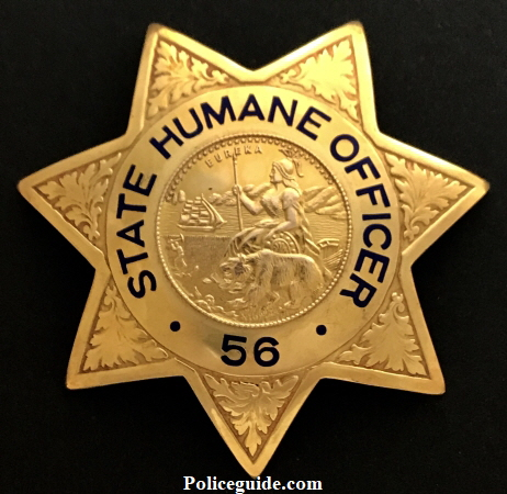 State Humane Officer #56 from the Palo Alto SPCA  with hat badge.  Marked on the reverse Property of the Palo Alto Humane Society.  Made by Irvine & Jachens, stamped Gold Filled with the Jewelry Workers Union stamp.