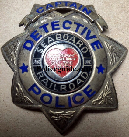 Seaboard Captain Detective Railroad police badge created by Jim Hurley.