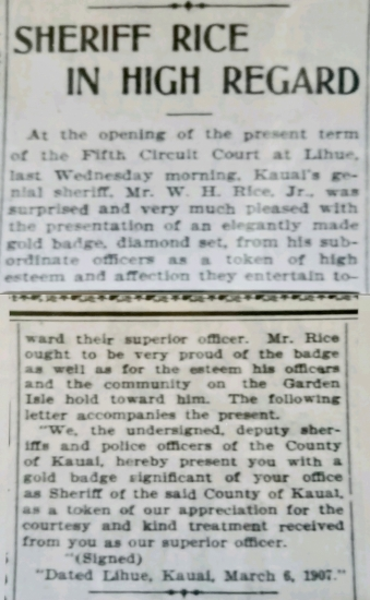 March 6, 1907 Sheriff Rice In High Regard.