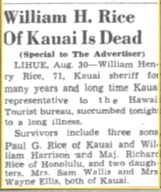 Rice Obit Honolulu Advertiser August 31, 1945