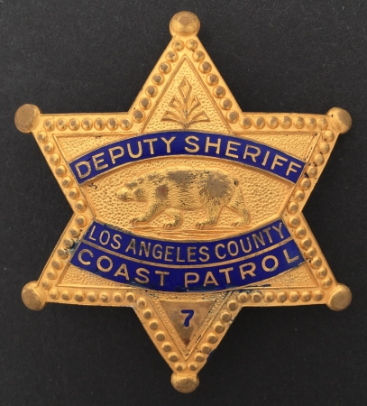 Los Angeles County Deputy Sheriff badge #7 Coast Patrol.  Hallmarked C. Entenmenn Los Angeles.