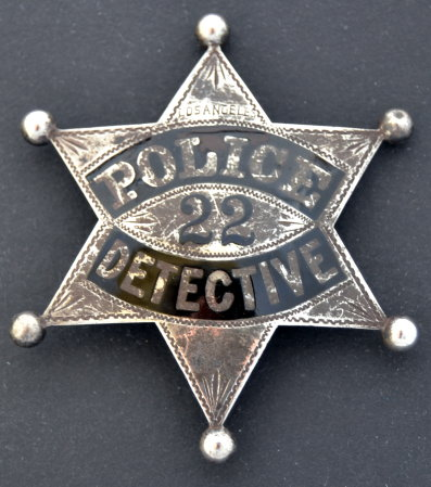 Los Angeles Police Detective badge #22, sterling silver, hand engraved.  One of two known to exist.