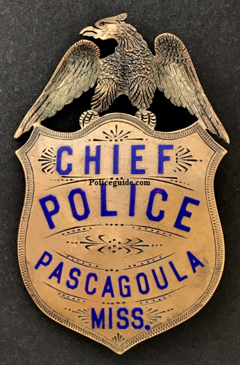 Chief of Police badge from Pascagoula Miss. made of copper with hard fired blue enamel.  Circa 1900.