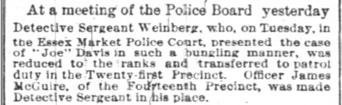 Sergeant-Weinberg demotion James McGuire promotion article