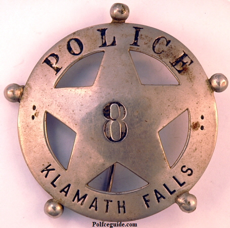 Klamath Falls Oregon Police badge #8.