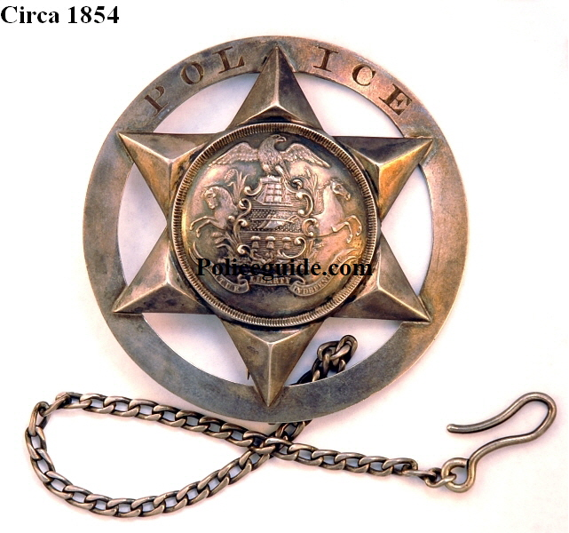 Very Early Allentown, PA Police badge, circa 1854 sterling badge, folded point star with attached outer ring, Pennsylvania state seal in center.