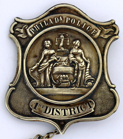 3rd issue Philadelphia Police badge 1st District, circa 1861-1874.