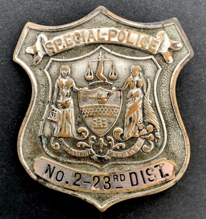 5th issue Philadelphia Special Police badge No. 2 - 23rd District, circa 1884-1888.
