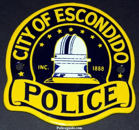 "Escondido Police Porcelain sign.  4"" wide and 4"" tall."