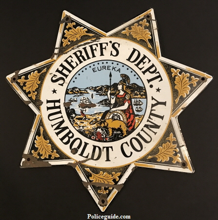"Humboldt County Sheriff's Dept. Porcelain sign.  14"" tall."