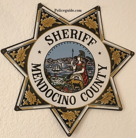 "Mendocino Sheriff Porcelain sign.  14"" tall."