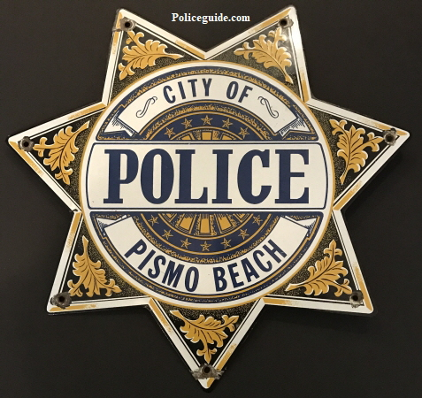 "City of Pismo Beach Police Porcelain sign.  16"" tall."