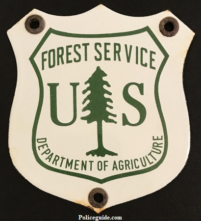 "Forest Service Department of Agriculture Porcelain sign.  5"" tall."