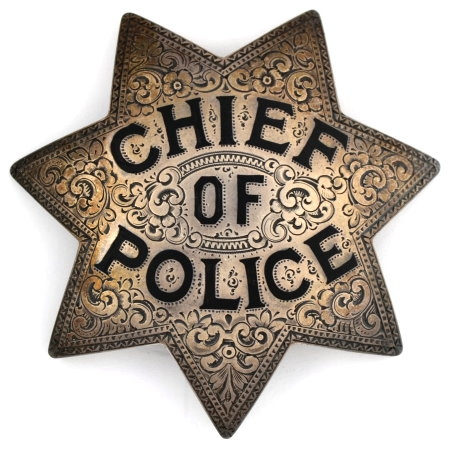 Engraved Sacramento Chief of Police sterling silver badge.� Circa 1924.
