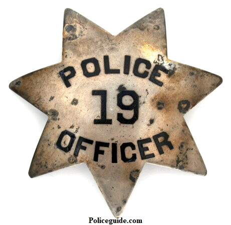 1st issue Sacramento Police badge number 19. Sterling silver.