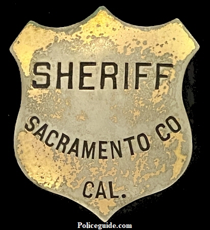 This badge was obtained from the family of Sacramento Sheriff Adolph Heilbron who served from 1880-1882.  It was made by Will & Finck San Francisco.  It is believed that this badge was the very one purchased in 1872 and first worn by Sheriff Michael Bryte 1872-1874 and then by Hugh McElroy LaRue 1874-1876, and then by Sheriff Moses M. Drew 1876-1878, 1878-1880, and finally Adolph Heilbron.