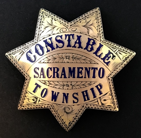 Sacramento County Constable badge presented to Mike Morairity.  Badge is gold front and beautifully hand engraved.