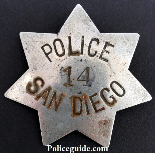 Early San Diego Police badge worn by John Schneider who was appointed  Oct. 27, 1887.�