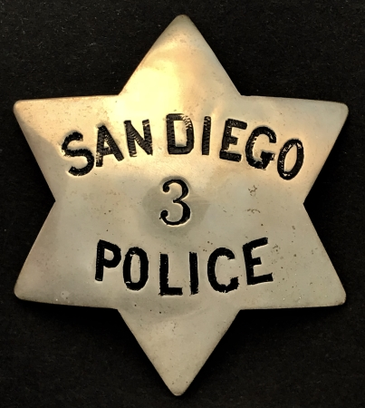 Early San Diego Police badge worn by George Dow who was appointed  Dec. 6, 1886.�