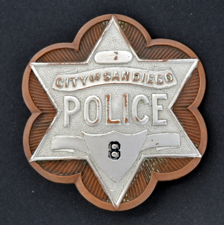 San Diego Police badge #8 made by Cal Stamp Co. San Diego.  This was the 4th issue style badge and was only used from 1915 -  1917.