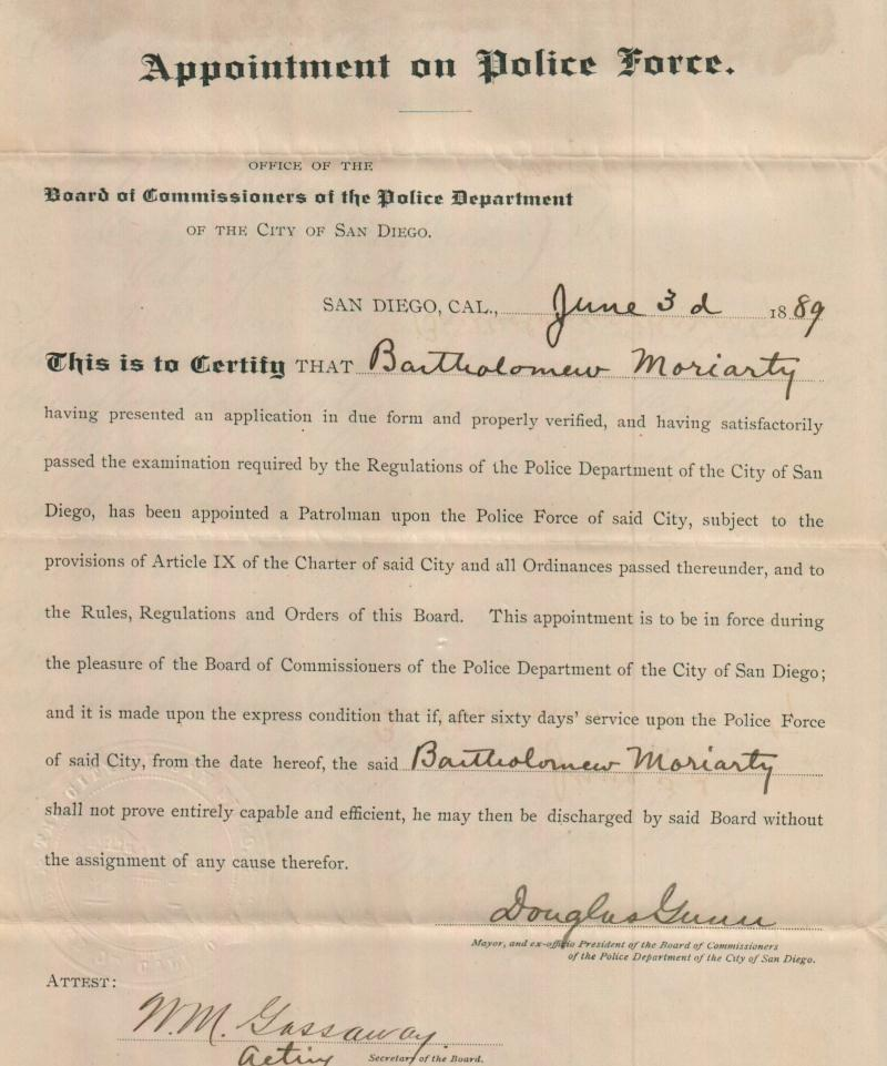 June 3,1889 Moriarty Appointment Certificate.