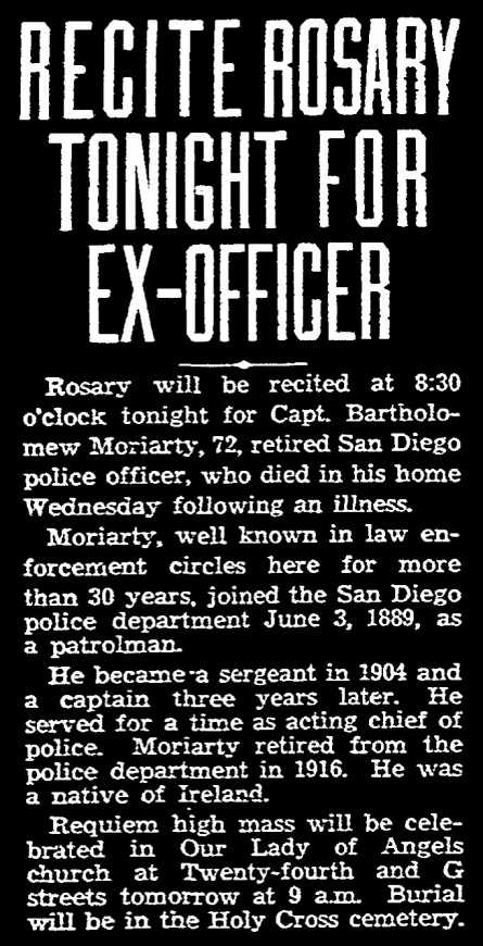 1933 Obituary for Bartholomew Moriarty.