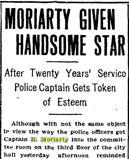 Moriarty Given Star headline on Jan. 18, 1908 San Diego Tribune article.