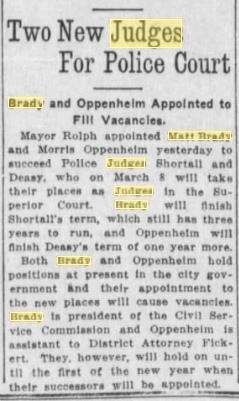 22Nov1914SF Examiner Brady Appointed Police Judge 3