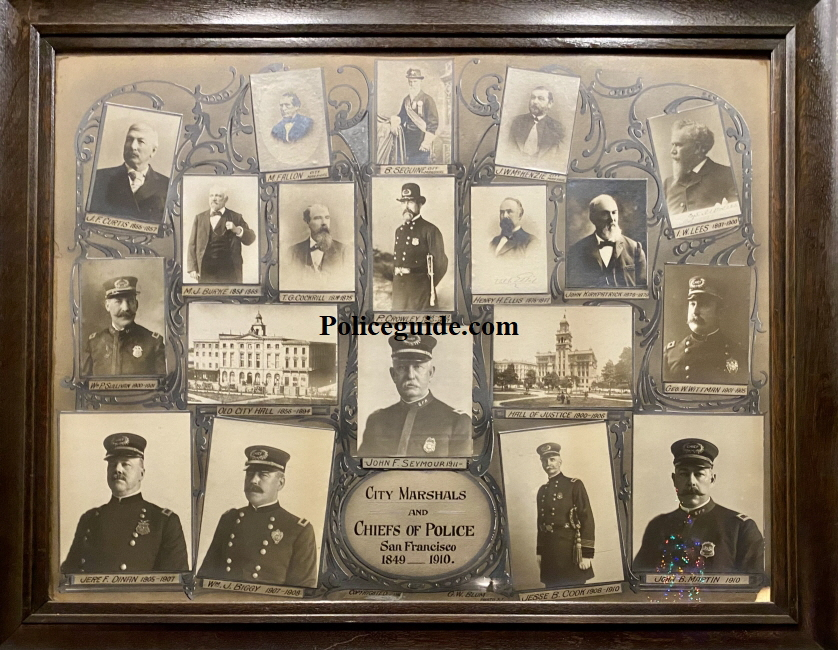 S.F.P.D. officer and photographer G. W. Blum created this collage of all City Marshal's and Chief's of Police from 1849 to 1911 when John F. Seymour was appointed Chief of Police.  Each photo is individually mounted followed by delicate and intricate ornamental filigree and text was painstakingly hand painted.
