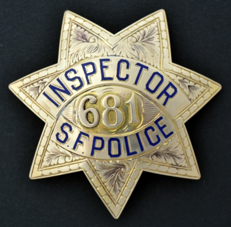 San Francisco Police Inspector badge #681 made of 14k gold by San Francisco's Morgen Jewelry.