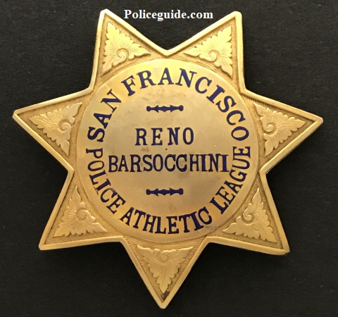 Presentation badge of Reno Barsocchini from the San Francisco Police Athletic League.  Made by Irvine & Jachens and stamped Gold Filled.