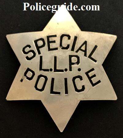 S.F.P.D. Special Police badge #L.L.P. Made by Irvine & Jachens 1027 Market St. San Francisco.