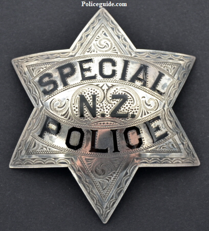 San Francisco Special Police N. Z. badge made of sterling and beautifully hand engraved.  Made by Wirth & Jachens circa 1886.