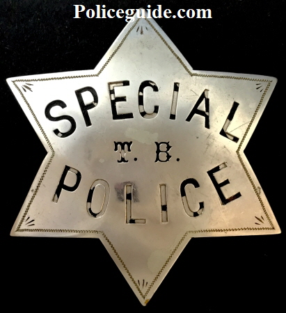 Early San Francisco Special Police T. B. badge made of nickel silver by G. M. Woods & Co. Engravers 543 California St. S.F.  The Woods Company was in business from 1856 to 1906.