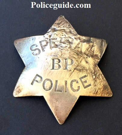 Early San Francisco Special Police B.P. badge made of nickel silver by DWL S.F. Circa 1880.